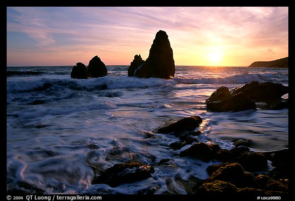 Seastacks, Rodeo Beach, Sunset. California, USA (color)