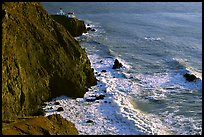 Cliffs, waves,  and Point Bonita Lighthouse, late afternoon. California, USA ( color)