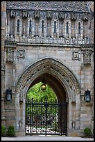 Gate in gothic style, Branford College. Yale University, New Haven, Connecticut, USA