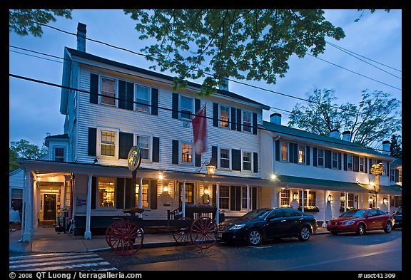 Griswold Inn at dusk, Essex. Connecticut, USA (color)