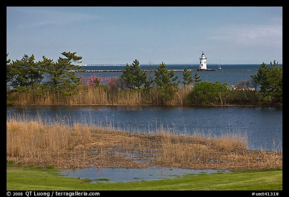 Pond and lighthouse, Old Saybrook. Connecticut, USA (color)