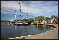 Historic harbor and tall ship. Mystic, Connecticut, USA (color)