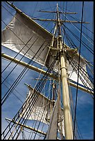 Masts and sails of Charles W Morgan historic ship. Mystic, Connecticut, USA (color)