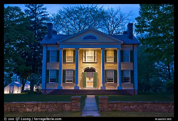 Florence Griswold House at dusk, Old Lyme. Connecticut, USA (color)