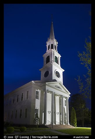 First Congregational Church (1665) at night, Old Lyme. Connecticut, USA (color)