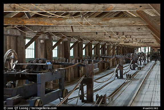 Inside long Rope-making building. Mystic, Connecticut, USA (color)