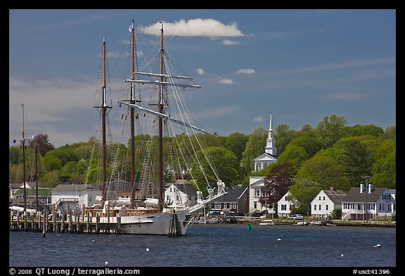 Mystic River, tall ship and village. Mystic, Connecticut, USA (color)