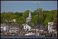 Pier, village and church. Mystic, Connecticut, USA (color)