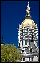 Gold-leafed dome of Connecticut State Capitol. Hartford, Connecticut, USA