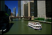 Chicago River and tour boat. Chicago, Illinois, USA ( color)