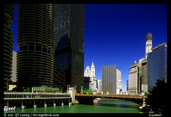 Chicago River flowing through downtown. Chicago, Illinois, USA (color)