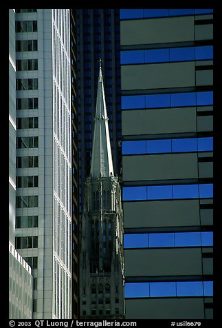 Church spire and modern buildings. Chicago, Illinois, USA (color)