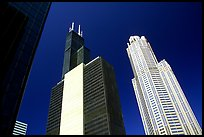 Sears tower and other skyscrappers towering in the sky. Chicago, Illinois, USA ( color)