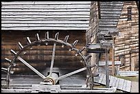Undershot wheel on side of forge, Saugus Iron Works National Historic Site. Massachussets, USA (color)