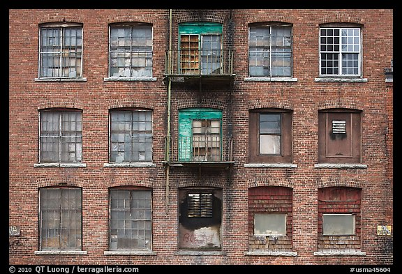 Brick facade of industrial building, Saugus. Massachussets, USA (color)