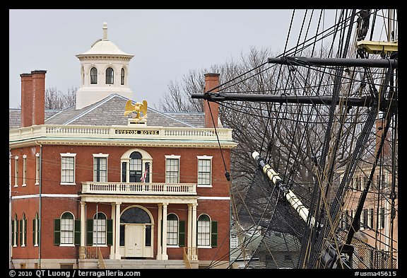 Ship rigging and Custom House, Salem Maritime National Historic Site. Salem, Massachussets, USA