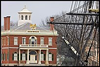 Ship rigging and Custom House, Salem Maritime National Historic Site. Salem, Massachussets, USA (color)