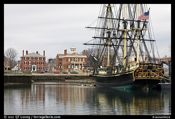 Sail ship and waterfront, Salem Maritime National Historic Site. Salem, Massachussets, USA