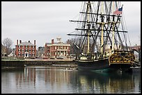 Sail ship and waterfront, Salem Maritime National Historic Site. Salem, Massachussets, USA (color)