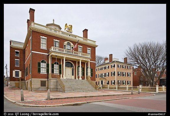 Custom House and Hawkes House, Salem Maritime National Historic Site. Salem, Massachussets, USA (color)
