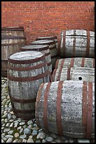 Barrels outside public stores, Salem Maritime National Historic Site. Salem, Massachussets, USA (color)