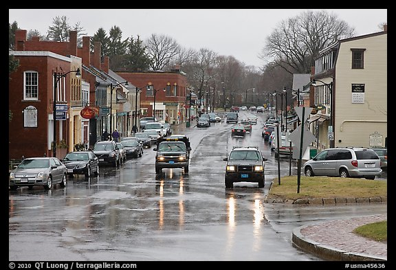 Main street in the rain, Concord. Massachussets, USA (color)