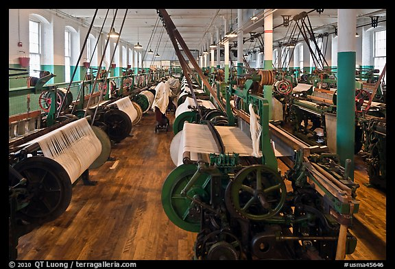Textile Looms, Boott Cottom Mills Museum, Lowell National Historical Park. Massachussets, USA (color)