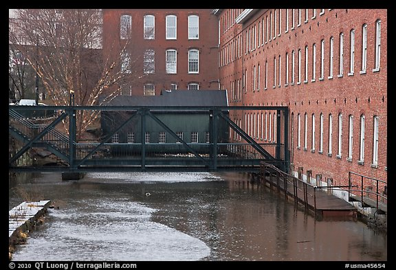 Eastern Canal and Boots Mills, Lowell National Historical Park. Massachussets, USA (color)