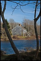 Historic house next to pond, Sandwich. Cape Cod, Massachussets, USA ( color)