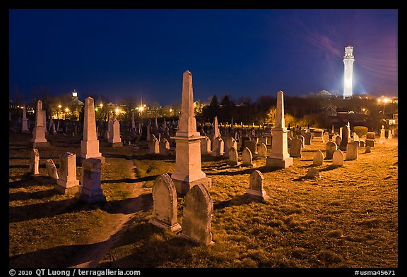 Cemetery and Pilgrim Monument at night, Provincetown. Cape Cod, Massachussets, USA (color)