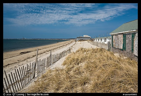 Cottages and beach, Truro. Cape Cod, Massachussets, USA (color)