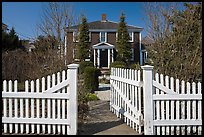 White picket fence and house, Provincetown. Cape Cod, Massachussets, USA (color)