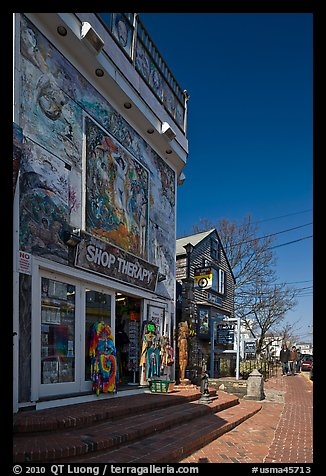 Storefront with quirky facade, Provincetown. Cape Cod, Massachussets, USA (color)