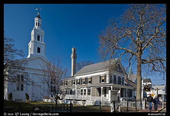 Church, Pilgrim Monument, and houses, Provincetown. Cape Cod, Massachussets, USA