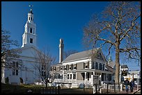 Church, Pilgrim Monument, and houses, Provincetown. Cape Cod, Massachussets, USA ( color)