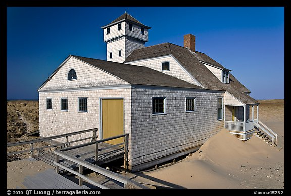 Historic life-saving station, Race Point Beach, Cape Cod National Seashore. Cape Cod, Massachussets, USA (color)