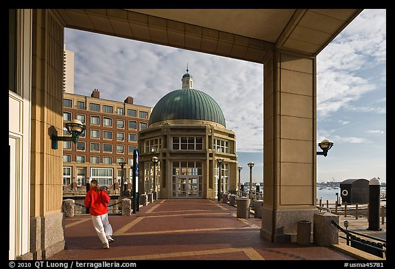 Ferry terminal, Rowes Wharf. Boston, Massachussets, USA (color)