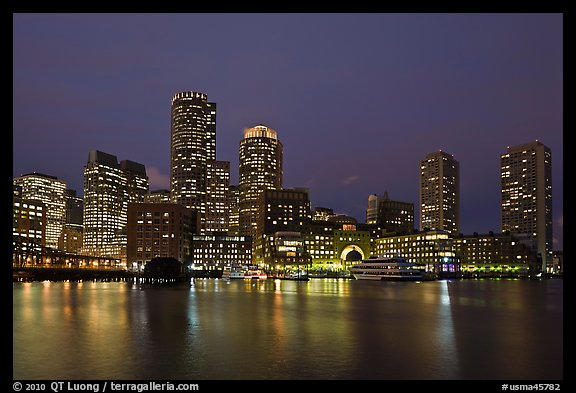 Boston skyline at dusk. Boston, Massachussets, USA (color)