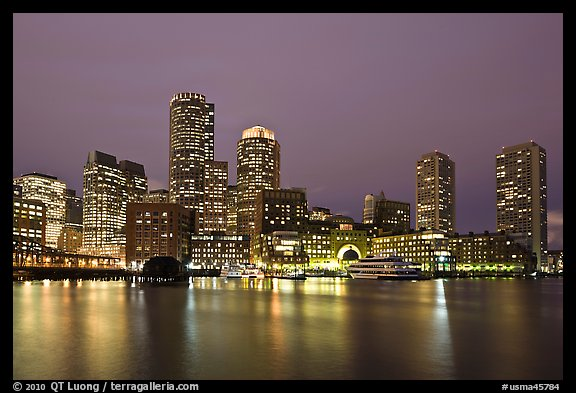 Financial district night skyline. Boston, Massachussets, USA (color)