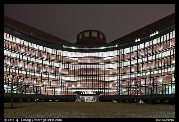 John Joseph Moakley US Courthouse by night. Boston, Massachussets, USA (color)