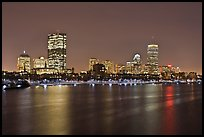 Charles River and Back Bay skyline by night. Boston, Massachussets, USA ( color)