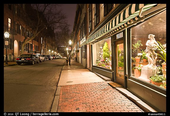 Flower shop by night, Beacon Hill. Boston, Massachussets, USA (color)