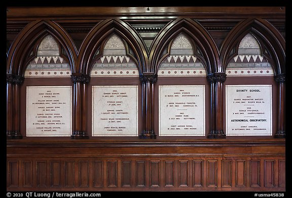 White marble tablets commemorating Civil War casualties, Memorial Hall, Harvard University, Cambridge. Boston, Massachussets, USA (color)