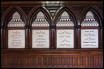 White marble tablets commemorating Civil War casualties, Memorial Hall, Harvard University, Cambridge. Boston, Massachussets, USA ( color)