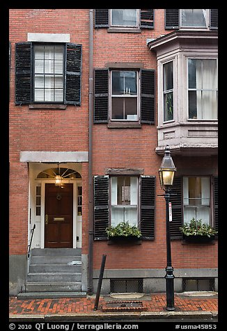 Brick residential houses, Beacon Hill. Boston, Massachussets, USA (color)