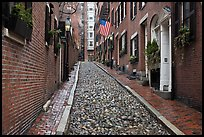 Cobblestone alley on rainy day, Beacon Hill. Boston, Massachussets, USA (color)