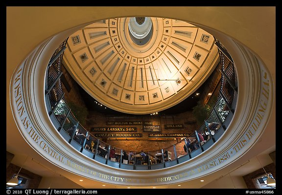 Below the dome, Quincy Market. Boston, Massachussets, USA (color)