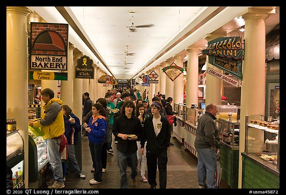 Food hall, Quincy Market Colonnade. Boston, Massachussets, USA (color)