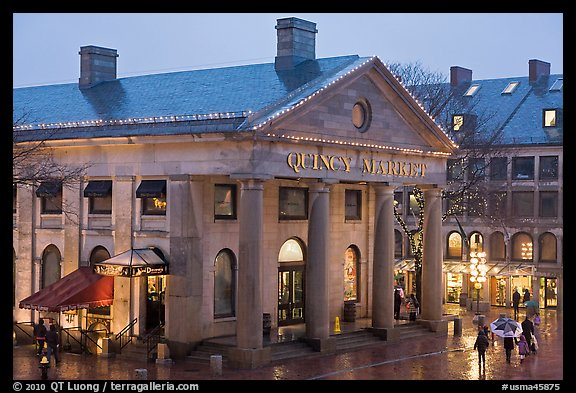 Quincy Market entrance at dusk. Boston, Massachussets, USA (color)