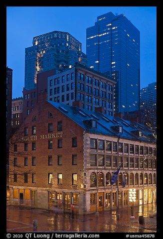 South Market and high rise buildings at dusk. Boston, Massachussets, USA (color)